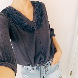 Free People top with tie at the bottom